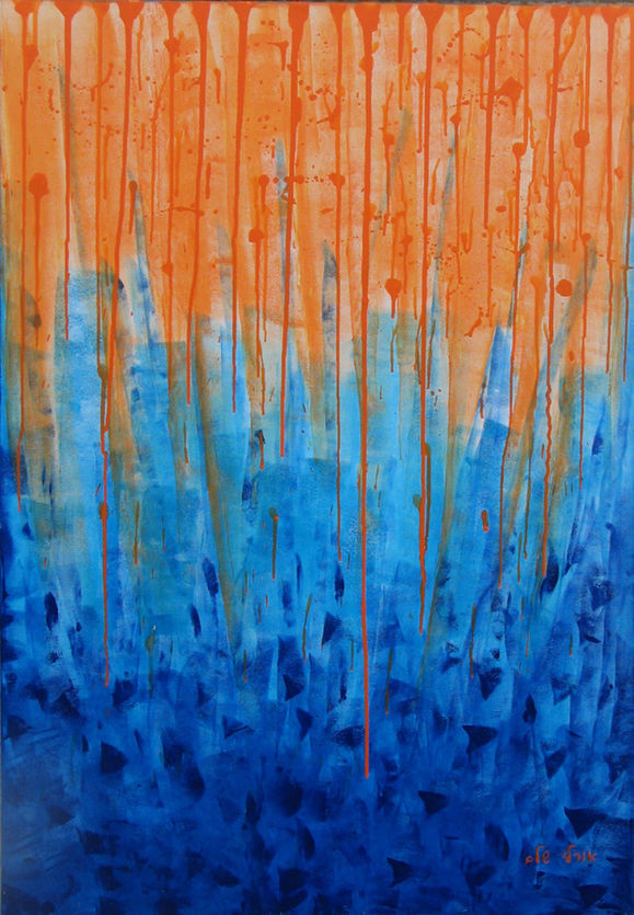 Abstract in blue and orange