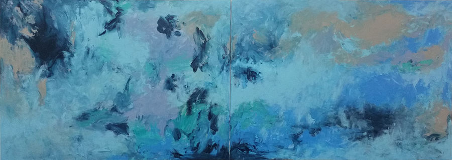 A blue abstract divided into two