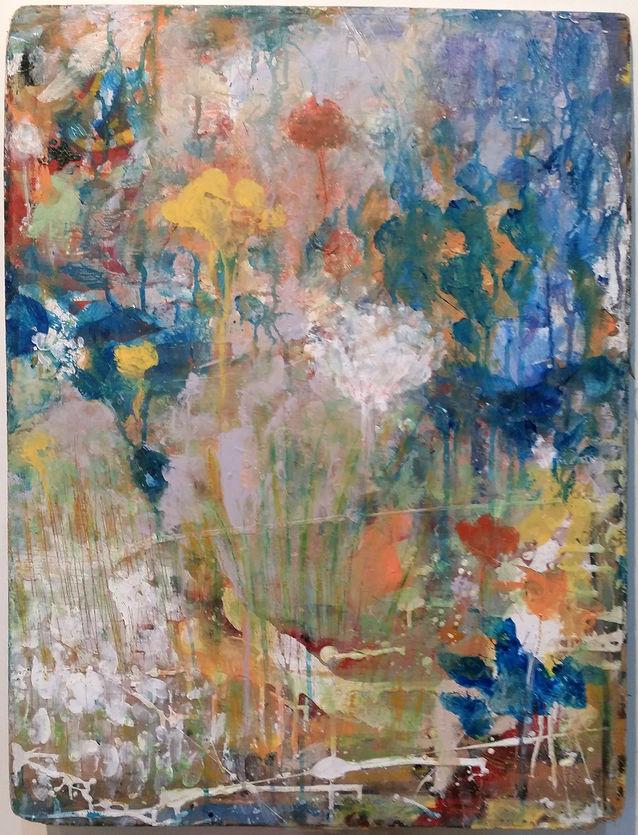 פרחים על דיקט משומש