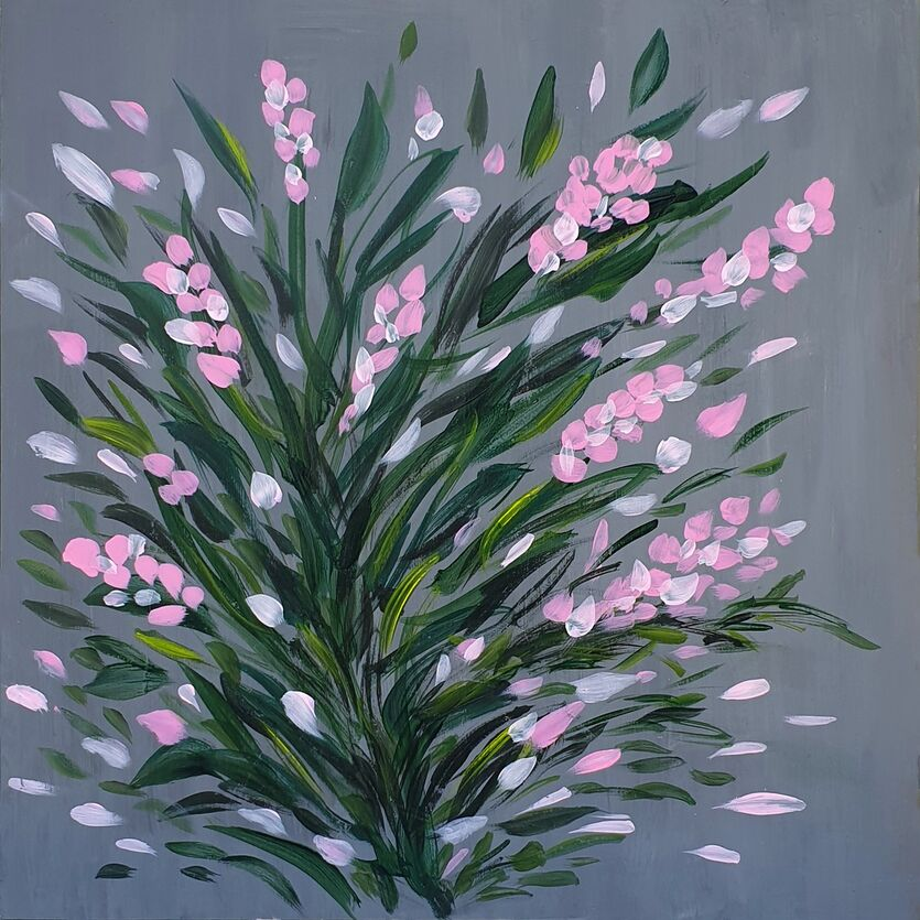 Pink flowers on gray