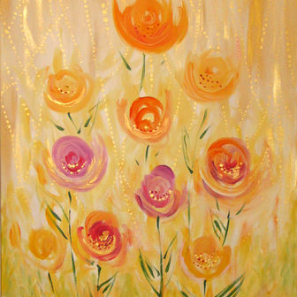 פרחים מוזהבים